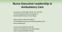 Nurse Executive Leadership in Ambulatory Care