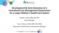 Development and Early Outcomes of a Centralized Care Management Department for a Large Children's Health Care System