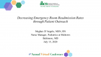 Decreasing Emergency Room Readmission Rates through Patient Outreach