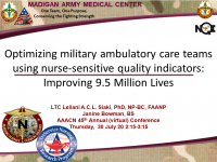 Optimizing Military Ambulatory Care Teams Using Nurse-Sensitive Quality Indicators: Improving 9.6 Million Lives