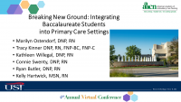 Breaking New Ground: Integrating Baccalaureate Students into Primary Care Settings (Rapid Fire)
