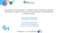 Development and Evaluation of a Telemedicine Program to Improve Care Coordination Among Medically Complex Pediatric Patients