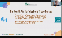 The Fourth Aim for Telephone Triage Nurses - One Call Center's Approach to Improve Staff's Work Life