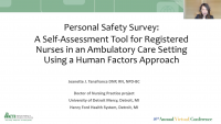 Personal Safety Survey: A Self-Assessment Tool for Registered Nurses in an Ambulatory Care Setting Using a Human Factors Approach