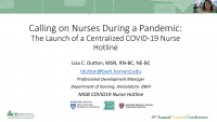 Calling on Nurses During a Pandemic: The Launch of a Centralized COVID-19 Nurse Hotline