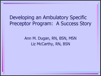 Developing an Ambulatory Specific Preceptor Program: A Success Story