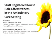 Staff Registered Nurse Role Effectiveness in the Ambulatory Care Setting