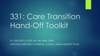 Care Transition Hand-Off Toolkit