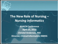 The New Role of Nursing - Nursing Informatics