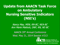 Update from AAACN Task Force on Ambulatory Nursing Sensitive Indicators