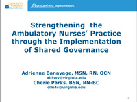 Special In-Brief Session: Ambulatory Practice Solidified Across a Large Health Care Organization That Is Making an Impact on Patient Care and the Advancement of Ambulatory Nursing Practice; Strengthening Ambulatory Nurses' Practice Through Implementa