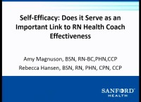 Self-Efficacy: Does It Serve as an Important Link to RN Health Coach Effectiveness?