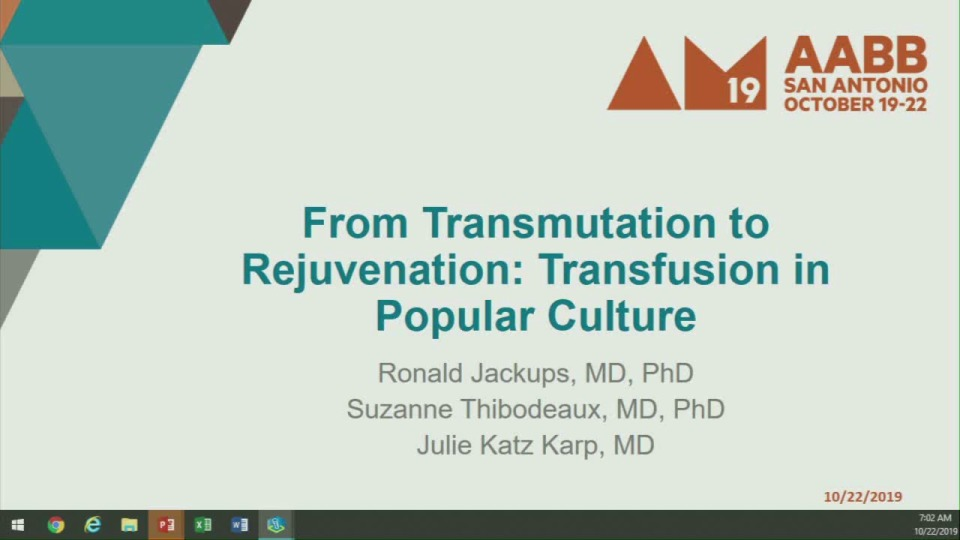 TU1-10: From Transmutation to Rejuvenation: Transfusion in Popular Culture