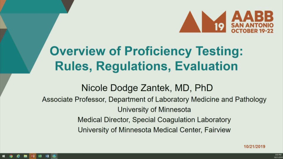 MN3-26: Proficiency Testing: The Who, What, When, and Why