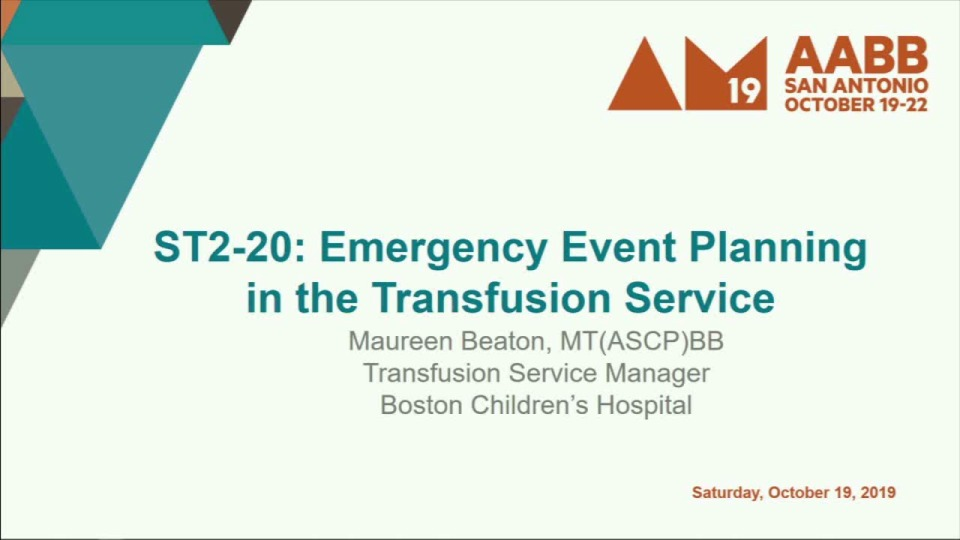 ST2-20: Emergency Event Planning in the Transfusion Service