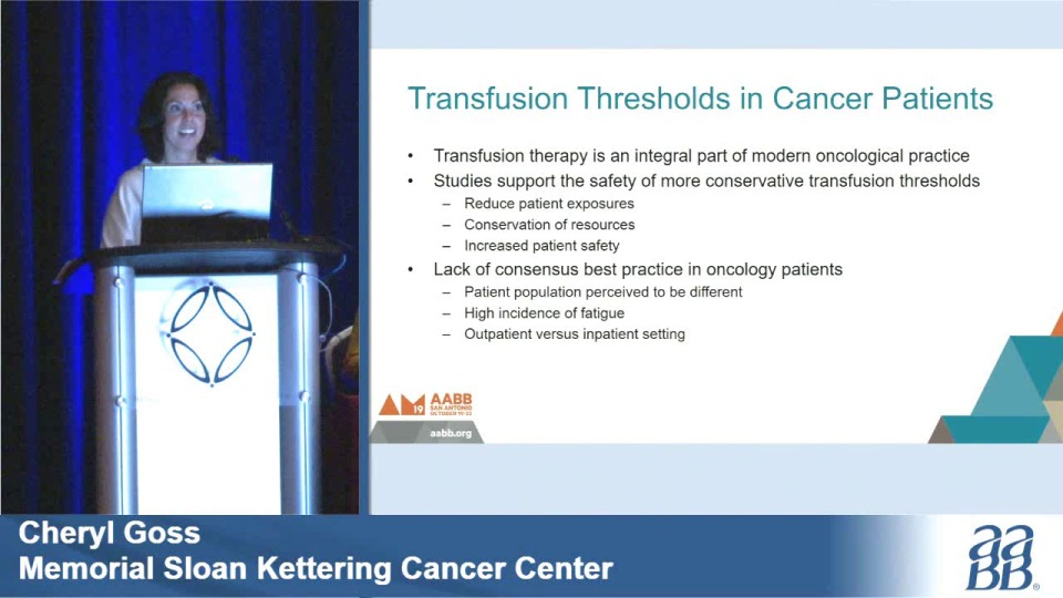 SN5-32: What Is Standard of Care for Transfusing Cancer Patients? Comparing Practices Among Leading Cancer Centers