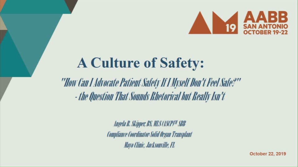 "TU3-30: A Culture of Safety: ""How Can I Advocate Patient Safety If I Myself Dont Feel Safe?"" - the Question That Sounds Rhetorical but Really Isnt"