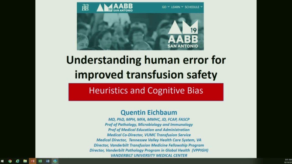ST1-06: Understanding Human Error for Improved Transfusion Safety