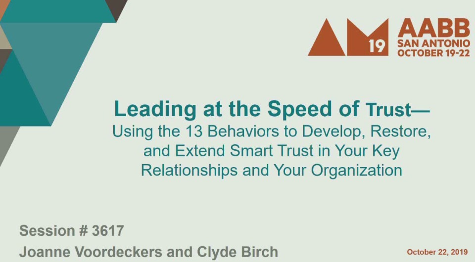 TU1-08: Leading at the Speed of Trust – Using the 13 Behaviors to Develop, Restore, and Extend Smart Trust in Your Key Relationships and Your Organization