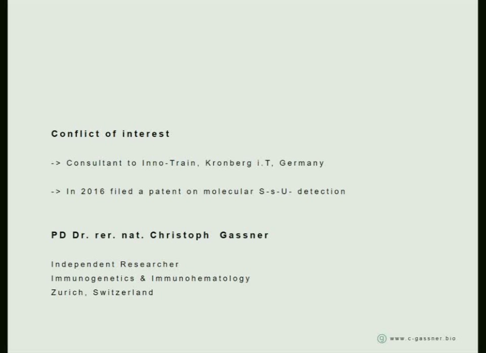 TU2-12: Challenges of Terminology and Bioinformatics for Blood Group Systems (AABB/ISBT Joint Session)