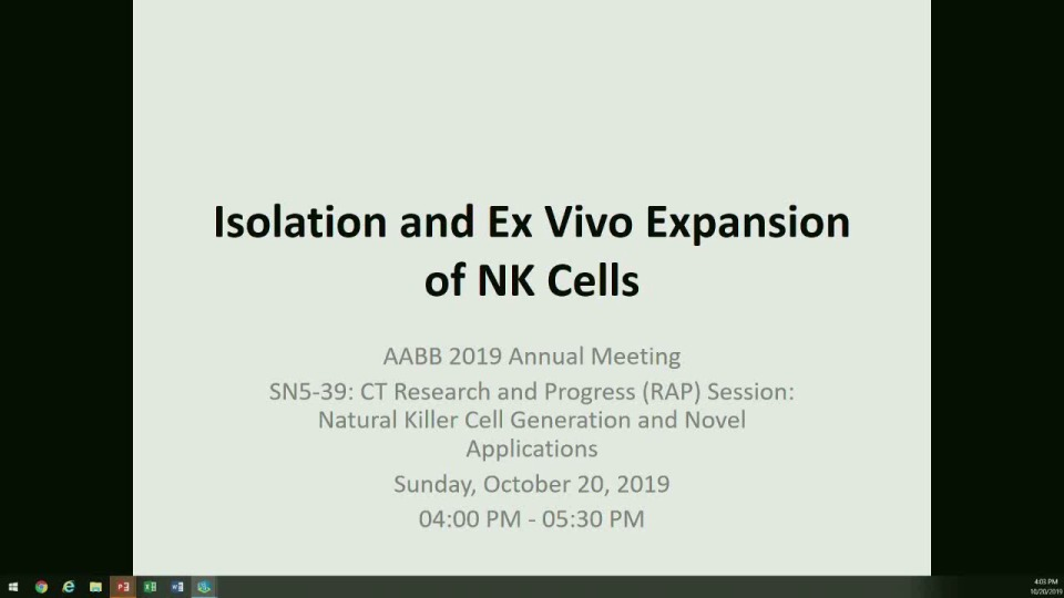 SN5-39: CT Research and Progress (RAP) Session: Natural Killer Cell Generation and Novel Applications