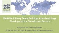 AM20-13: Multidisciplinary Team Building: Anesthesiology, Nursing and the Transfusion Service
