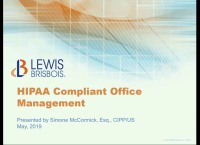 2019 AAO Annual Session - HIPAA Compliant Office Management