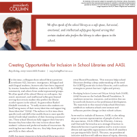 President's Column: Creating Opportunities for Inclusion in School Libraries and AASL (Volume 48, No.3, pgs 4-5)