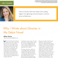 CBC Column: Why I Wrote about Libraries in My Debut Novel (Volume 47, No. 5, pgs 86-88)