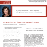 President's Column: Learner-Ready School Librarians' Journey through Transition (Volume 47, No. 2, pgs 4-5)