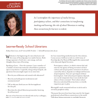President's Column: Learner-Ready School Librarians (Volume 47, No. 1, pgs 4-5)