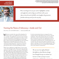 President's Column: Fanning the Flame of Advocacy—Inside and Out (Volume 46, No.5, pgs 4-5)
