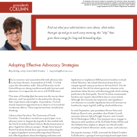 President's Column: Adopting Effective Advocacy Strategies (Volume 48, No.4, pgs 4-5)