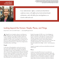 President's Column: Looking beyond the Horizon: People, Places, and Things (Volume 45, No. 5, pgs 4-5)