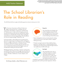 The School Librarian's Role in Reading (Volume 49, No.1, pgs 8-9)