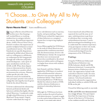 "Research into Practice Column: ""I Choose…to Give My All to My Students and Colleagues"" (Volume 49, No.4, pgs 44-45)"