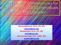 Allies for All: Skills for Working with LGBTQ Individuals Throughout the Life Span