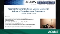 Recent Enforcement Actions: Lessons Learned on Culture of Compliance and Governance