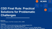 CDD Final Rule: Practical Solutions for Problematic Challenges