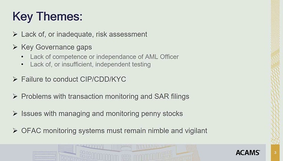 Lessons Learned from Recent Enforcement Actions and CMPs
