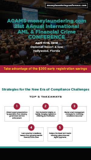 ACAMS 21st Annual International AML & Financial Crime Conference - Hollywood