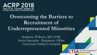 Overcoming the Barriers to Recruitment of Underrepresented Minorities