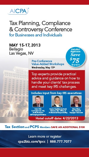 Tax Planning, Compliance & Controversy Conference 2013