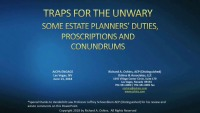 Traps for the Unwary: Estate Planners' Duties, Proscriptions and Conundrums