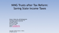 NING Trusts After Tax Reform:  Saving State Income Taxes