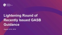 Lightening Round of Recently Issued GASB Guidance (Repeat of GAE1808)