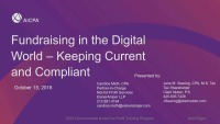 Fundraising in the Digital World - Keeping Current and Compliant