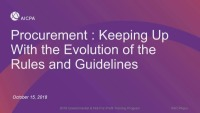 Procurement: Keeping up with the Evolution of the Rules & Guidelines