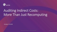 Auditing Indirect Costs (More than just Recomputing)