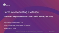Forensic Accounting Evidence - Evidentiary Comparison Between Civil & Criminal Matters (US/Canada)